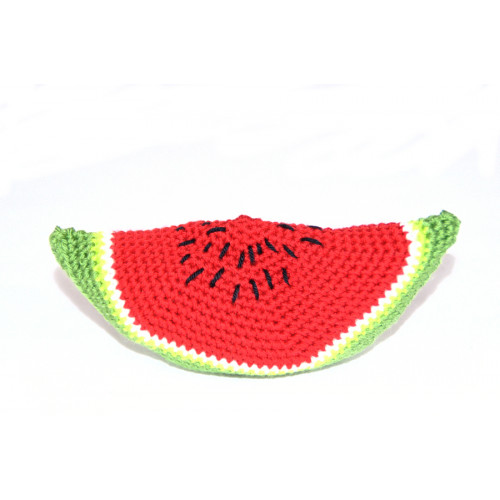 Crocheted watermelon slice